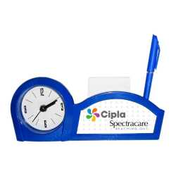 Blue Color Pen Stand Table Clock