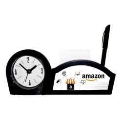 Black Color Pen Stand Table Clock