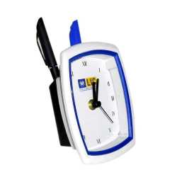 Blue Color Table Clock Penstand