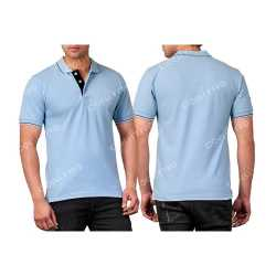 Cotton Rich Mens Collar with Piping T-Shirt