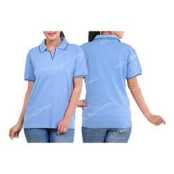 Cotton Rich Womens Collar with Piping T-Shirt