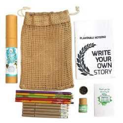 Plantable Jute Kit ( 1 Note Pad +  5 Eco Seed Pens + 5 Seed Pencils in Jute Bag )