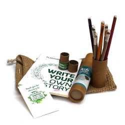 Plantable Jute Kit ( 1 Note Pad +  4 Paper Seed Pens + 4 Seed Pencils in Jute Bag )
