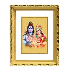 Shivan Parvathi Ganesha 24ct Gold Foil with DG Frame