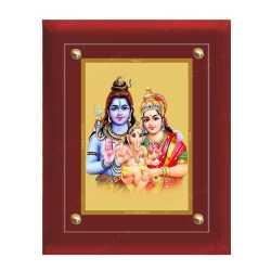 Shivan Parvathi Ganesha 24ct Gold Foil with MDF Frame