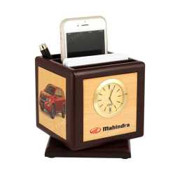 Revolving Pen Stand with  clock