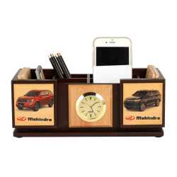 Pen Holder with Coaster Plates and clock