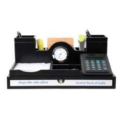 Pen Holder with clock Calculator & Coaster Plates