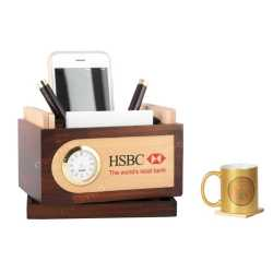 Revolving Pen Holder with Coaster Plates, Mobile Holder and clock