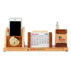 Pen Holder with Coaster Plates, Clock and Mobile Holder