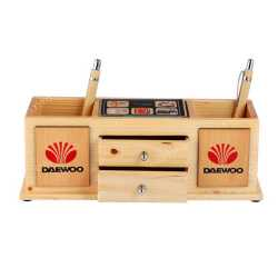 Wooden Table Top Pen Holder with Drawers