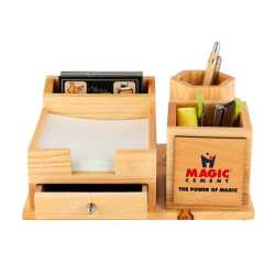 Wooden Table Top Pen Holder with Drawers and Mobile Holder