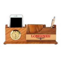 Wooden Pen Holder with Coaster Plates, Clock and Mobile Holder