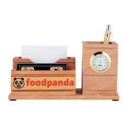 Wooden Pen Holder with  Mobile Holder and Clock