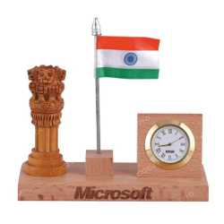 Wooden Table Top Pen Holder with Clock, National Flag and Ashoka Emblem