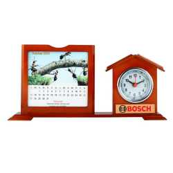 Wooden Table Top Clock and Calendar