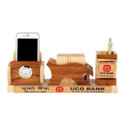 Wooden Pen Holder with Coaster Plates, Mobile Holder and Clock