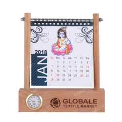 Wooden Table Top Calendar  Holder with Clock