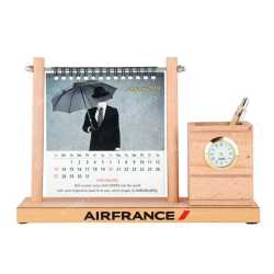 Wooden Table Top Pen Holder with Clock and Calendar