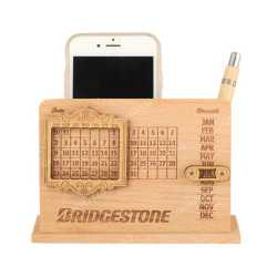 Wooden Table Calendar with Pen Holder and Mobile Holder