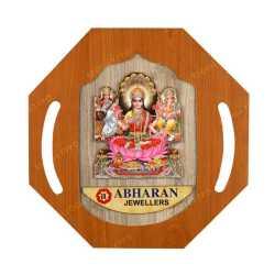Lord Ganesha Lakshmi & Swaraswathi Wooden Wall Hanging 11