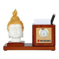 Lord Buddha Wooden Table Top Pen Holder with Clock