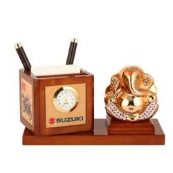 Lord Ganesha Wooden Table Top Pen Holder with Clock