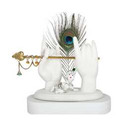 Statue of Krishna Hands with Flute and Peacock Feather