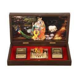 Lord RadhaKrishna in Wooden Box