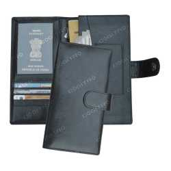Black Color Passport Cheque Book Holder